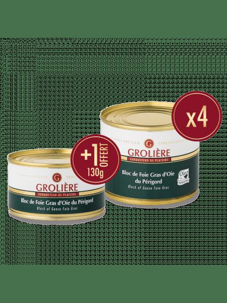 4 Blocs de Foie Gras d'Oie du Périgord 190g + 1 Boite de 130g Offerte